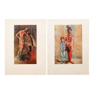1950s Picasso, Original Period Rose Epoch Harlequin Lithographs - a Pair For Sale
