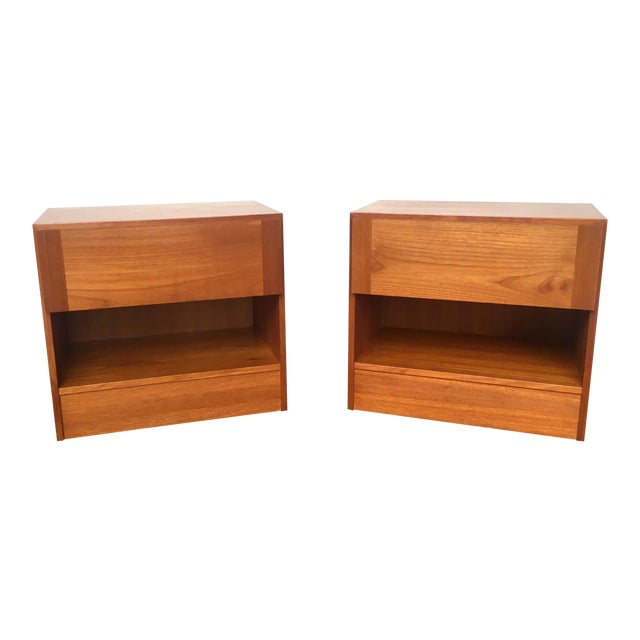 1960s Mid Century Modern Teak Nightstands - Pair For Sale