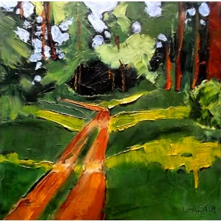 Lynne French California Plein Air Landscape Redwood Forest Road Painting For Sale