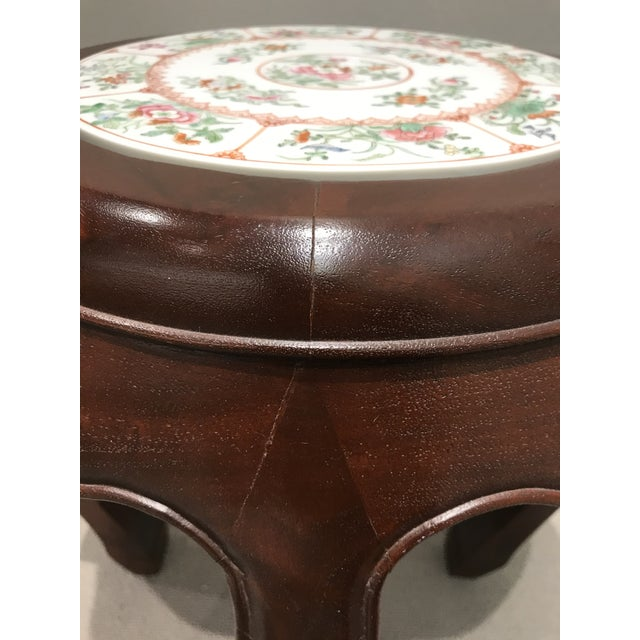 Wood Curved Wood Stool With Porcelain Inset For Sale - Image 7 of 13