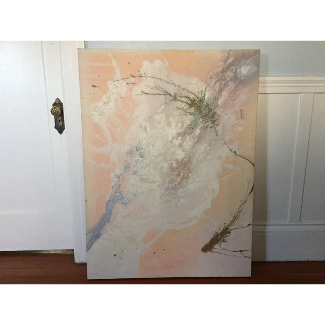 """Jacqueline Angove """"Peach Rose"""" Mixed Media Painting - Image 6 of 13"""