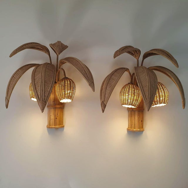1980s 1980s Rattan Palm Tree Sconces, France - a Pair For Sale - Image 5 of 13