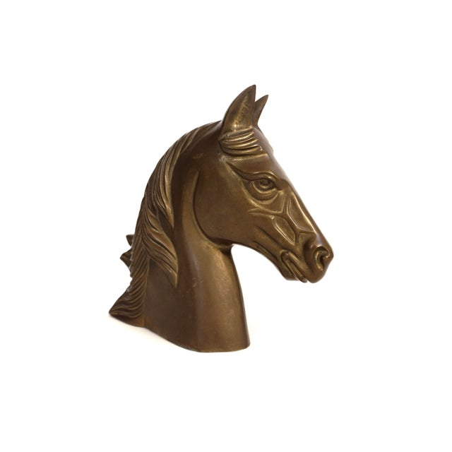 1960s Large Vintage Brass Horse Bust | Stallion Head Statue | Equestrian Décor | Western Chic Horse Sculpture | Equine Home Accent For Sale - Image 5 of 13