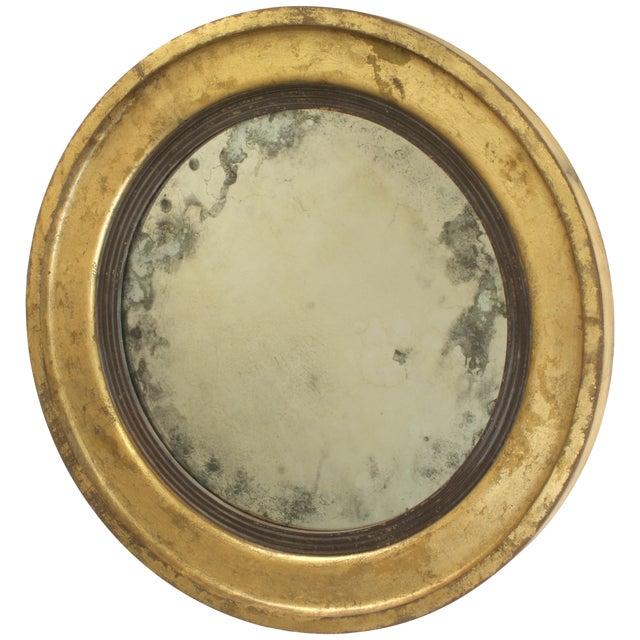 Suzanne Bonham Round Gilded Antiqued Mirror - Image 1 of 6