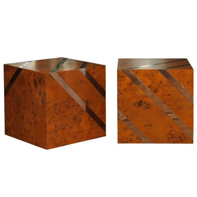Restored Pair of Olivewood and Nickel Cubes For Sale - Image 11 of 11