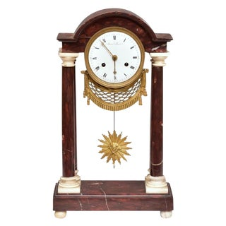 Rouge Marble Portico Clock For Sale