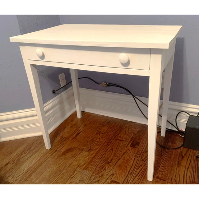 1960s Boho Chic Desk Painted in White Chalk Paint For Sale - Image 4 of 13