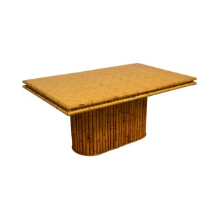 Bamboo Vintage Herringbone Parquet Top Dining Table For Sale