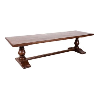 Large Antique French Oak Monastery Trestle Dining Table For Sale