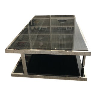 Coffee Table-Mid-Century Modern Blue Stone and Steel For Sale