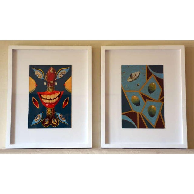Blue Pair of Whimsical Surrealist Oil on Panel Paintings in Shadow Boxes For Sale - Image 8 of 8