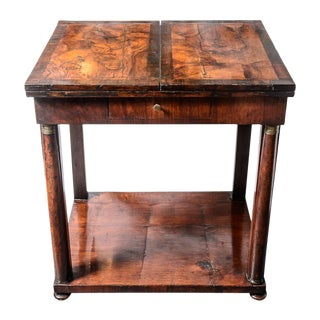 French Empire Early 19th C. Flamed Burr Rosewood Folding Center Table