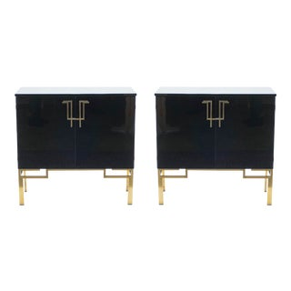 1970s Guy Lefevre for Maison Jansen Brass Lacquered Cabinets - a Pair For Sale