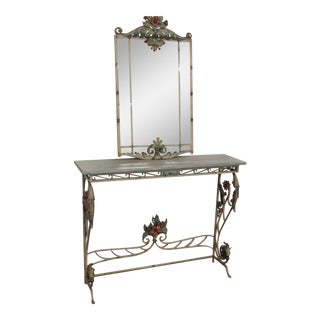 Venetian Style Wrought Iron Console and Mirror For Sale