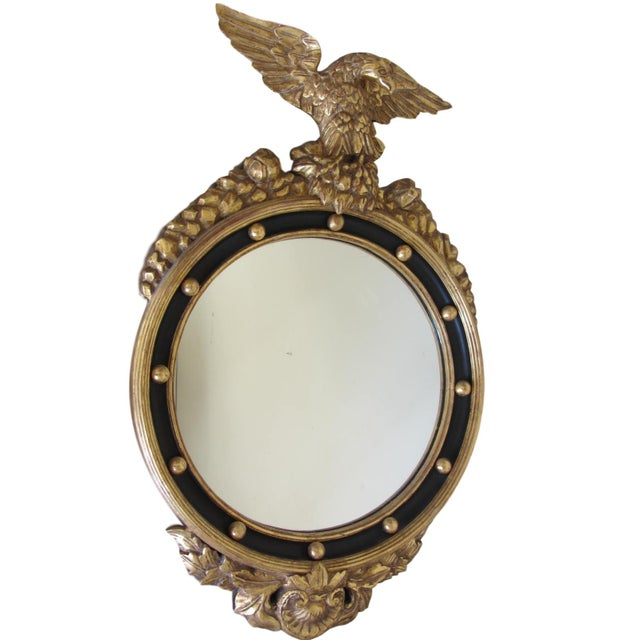 Hand Carved Gold Gilt Mirror With Eagle Crest For Sale