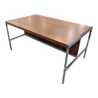 Mid Century Knoll Style Refinished Walnut and Chrome Partners Desk For Sale