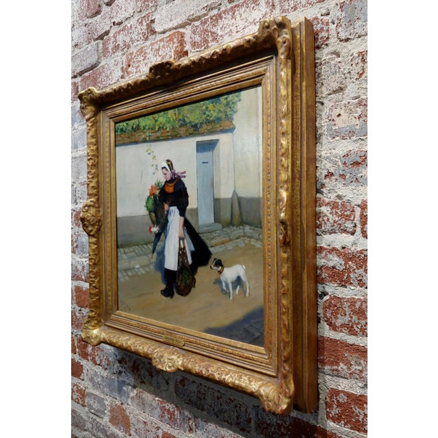 Jacques Wely -Woman & Her Jack Russel Dog Coming From the Market-Oil Painting For Sale - Image 9 of 13
