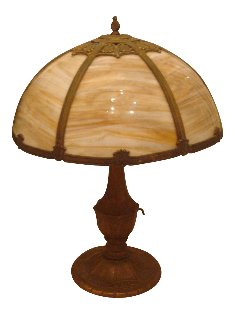 Slag Glass Table Lamp Chairish
