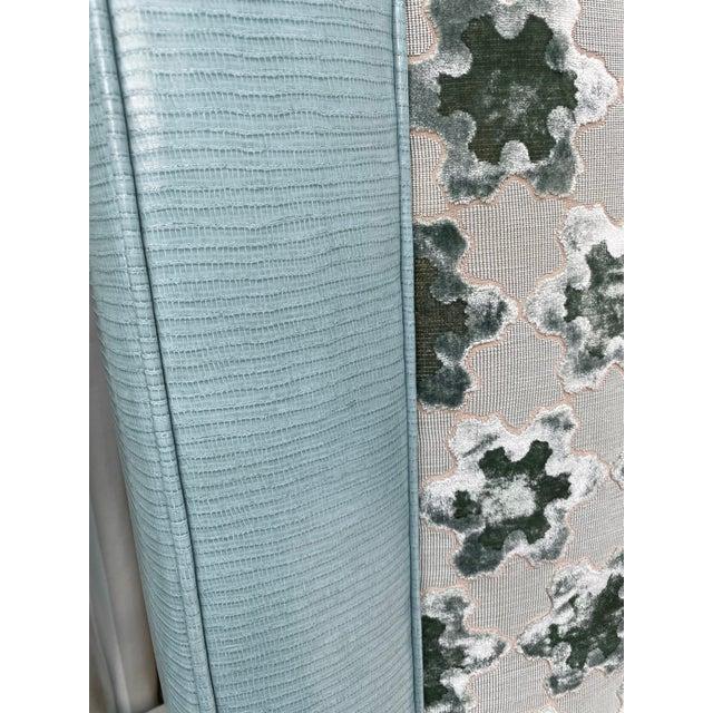 Custom Queen Size Platform Upholstered Bed in Mokum Velvet For Sale - Image 10 of 12
