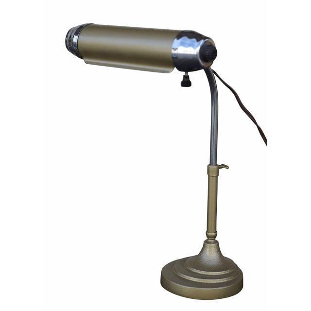 Enamel and Chromium Streamline Bankers Desk Lamp - Image 4 of 6