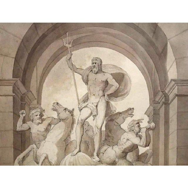 Mid 19th Century 1838 Palazzo Torlonia, Rome Grisaille Neptune Fountain Watercolor Painting For Sale - Image 5 of 11