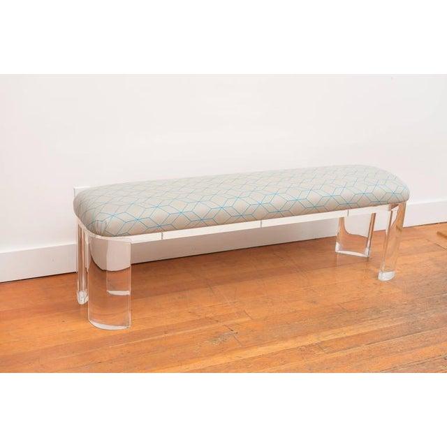 Karl Springer Style Lucite Bench - Image 2 of 8