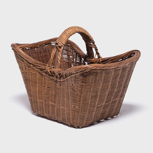 Brown Chinese Twist Woven Market Basket For Sale - Image 8 of 8
