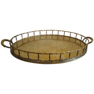 Handsome Mottahedeh Brass Faux Bamboo Gallery Tray For Sale