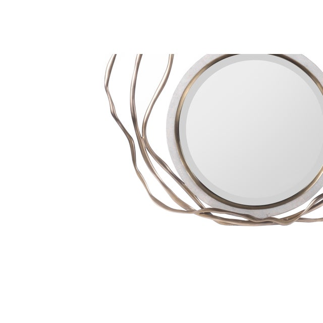 Dargelos Mirror in Cream Shagreen and Bronze-Patina Brass by Kifu Paris For Sale - Image 4 of 6