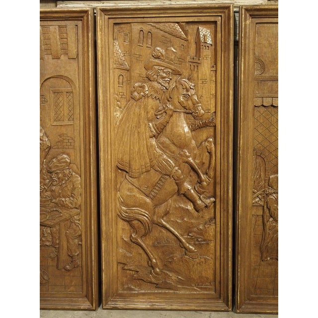 Set of Three Bas Relief Carved Belgian Panels, Circa 1930 For Sale - Image 4 of 13