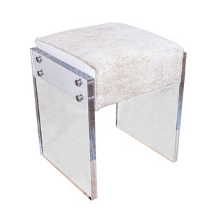 Coco Lucite Vanity Stool For Sale