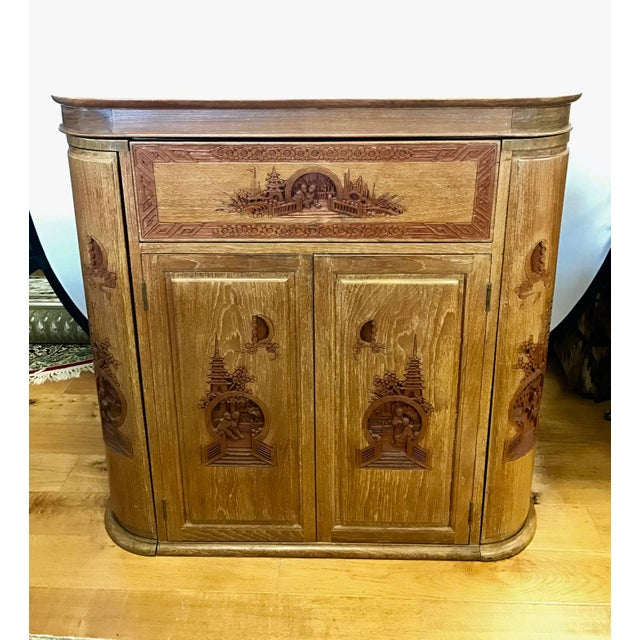 Carved Asian Floating Bar Cabinet Server Buffet, Late 19th Century For Sale - Image 10 of 10