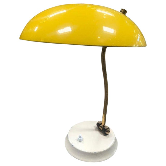Excellent 1950s Yellow Midcentury Table Lamp Decaso