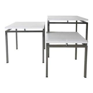 White Mid-Century Modern Nesting Tables, Modernist Design, 1960s