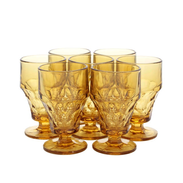 1970s Vintage Amber GlassThumbprint Amber Footed Tumblers - Set of 7 For Sale - Image 5 of 5