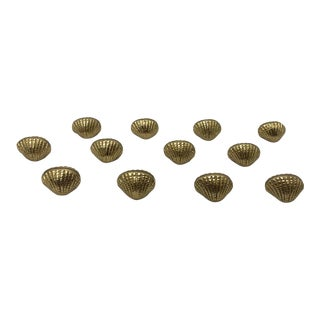 Vintage Brass Shell Place Card Holders- Set of 12 For Sale