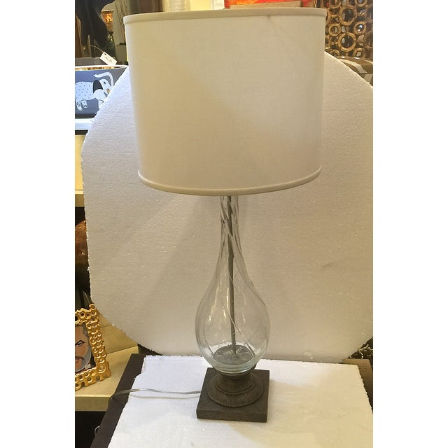 Modern Swirling Clear Glass Lamp - Image 2 of 5