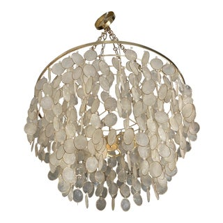 1960s Vintage Verner Panton Capiz Shell Chandelier For Sale