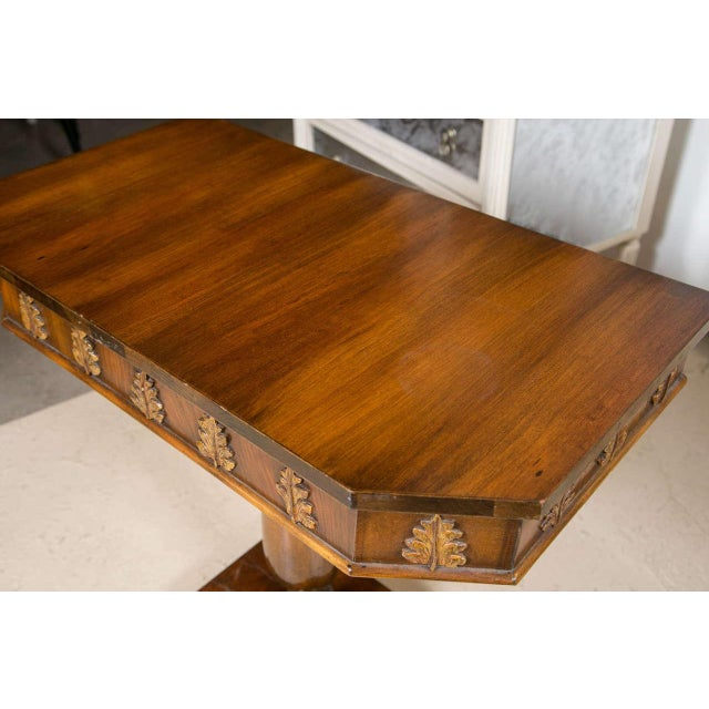 Pair of Neoclassical Style Detailed Carving Walnut Pedestal Console / End Tables For Sale - Image 5 of 9