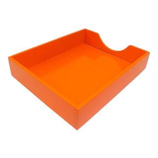 Mid-Century Orange Wood Desktop File Sorter / Tray