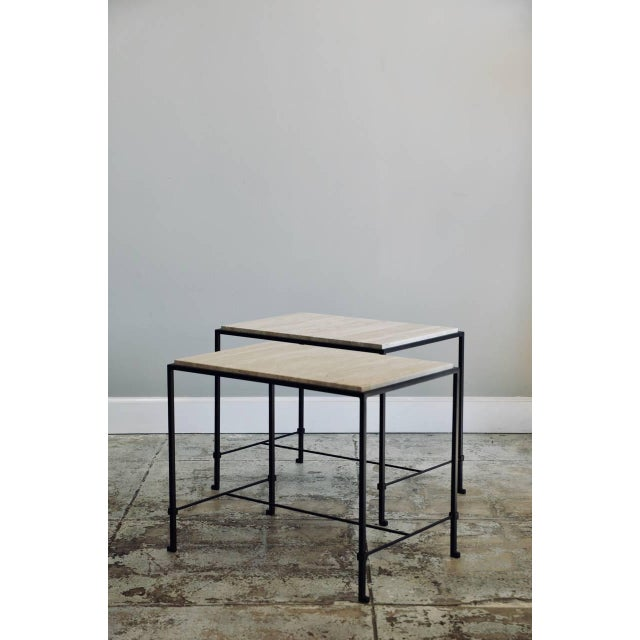 """Neoclassical Contemporary Design Frères """"Diagramme"""" Wrought Iron and Travertine Side Tables - a Pair For Sale - Image 3 of 11"""