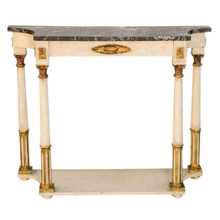 Palladio Painted and Parcel Gilt Console With Black Marble Top For Sale