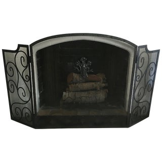 Black Three-Panel Wrought Iron Folding Fireplace Screen With Scroll Detail For Sale
