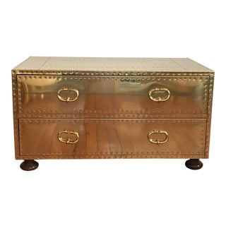 Sarreid LTD Brass 2 Drawer Trunk or Coffee Table