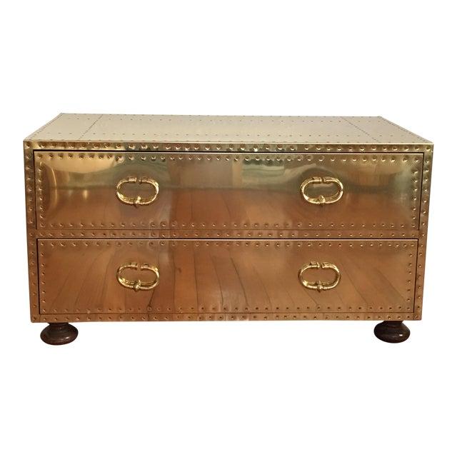 Sarreid LTD Brass 2 Drawer Trunk or Coffee Table For Sale