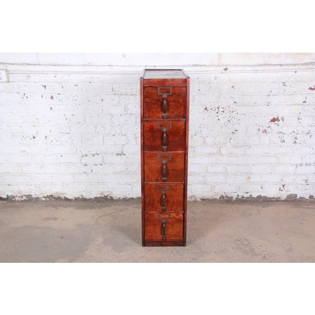 Arts & Crafts Antique 5-Drawer Wood File Cabinet For Sale - Image 3 of 11