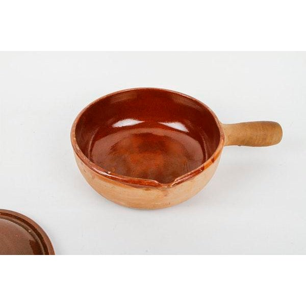 Vallauris 1960s Vallauris French Terracotta Handled Base Pottery Cookware With Glazed Lid For Sale - Image 4 of 7