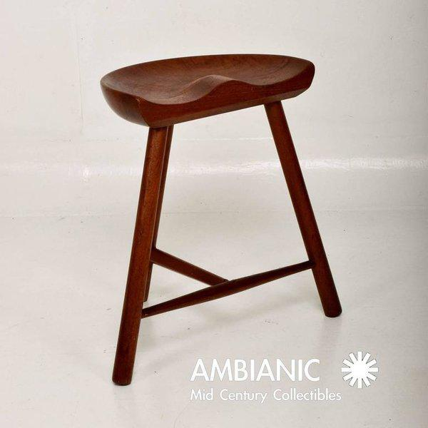 Danish Modern Mid-Century Danish Modern Solid Teak Stool For Sale - Image 3 of 10