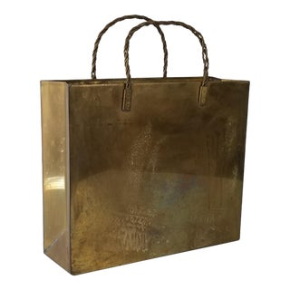 Vintage Brass Shopping Bag Magazine Holder For Sale