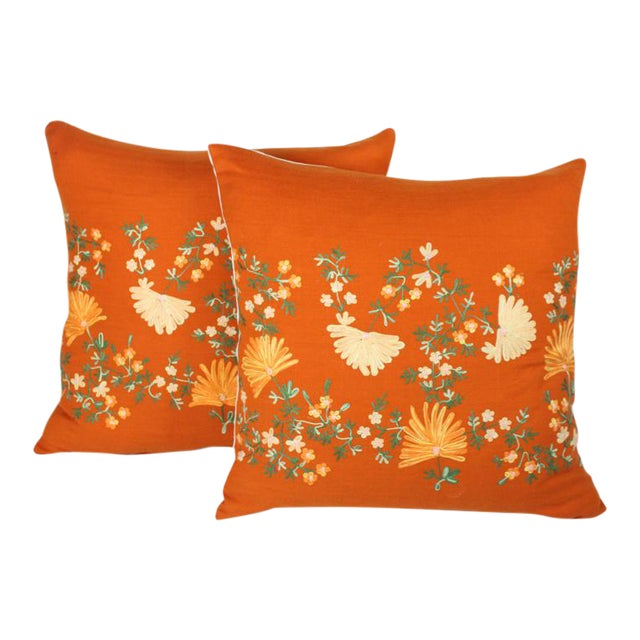 "Custom Made Hand-Embroidered ""Hermes"" Orange Cashmere Pillows - A Pair For Sale"